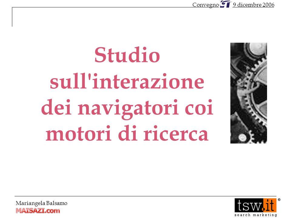 Mariangela Balsamo Studio sull interazione dei navigatori coi motori di ricerca 9 dicembre 2006Convegno