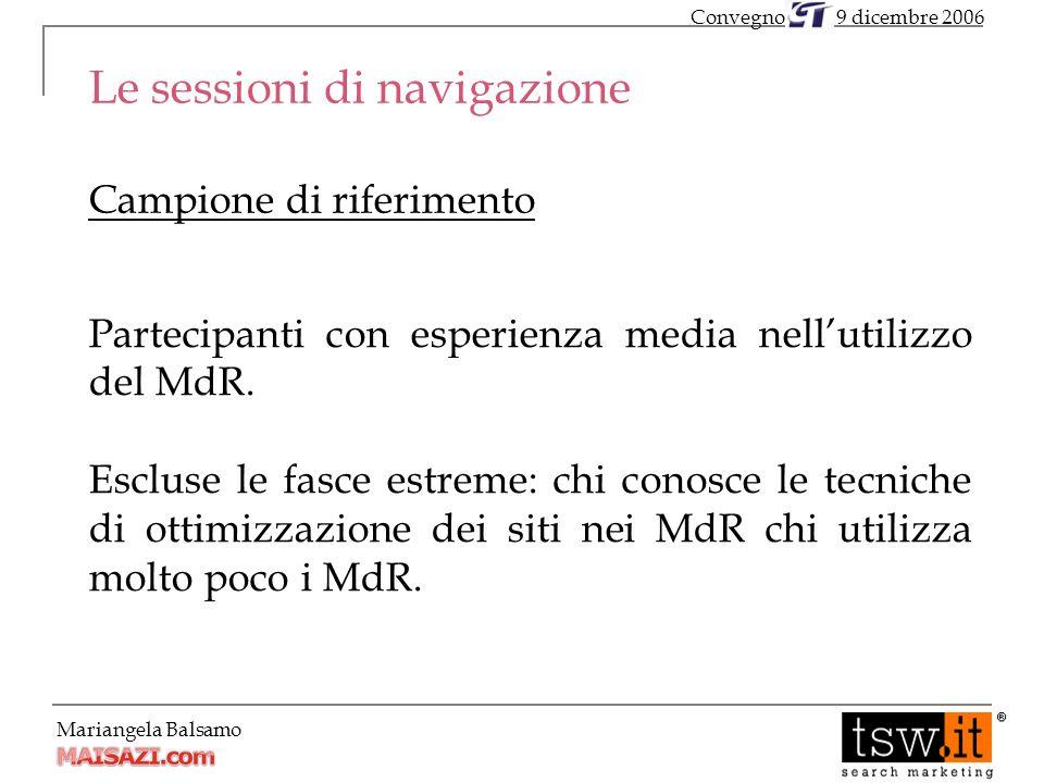 Mariangela Balsamo Le sessioni di navigazione Campione di riferimento Partecipanti con esperienza media nellutilizzo del MdR.