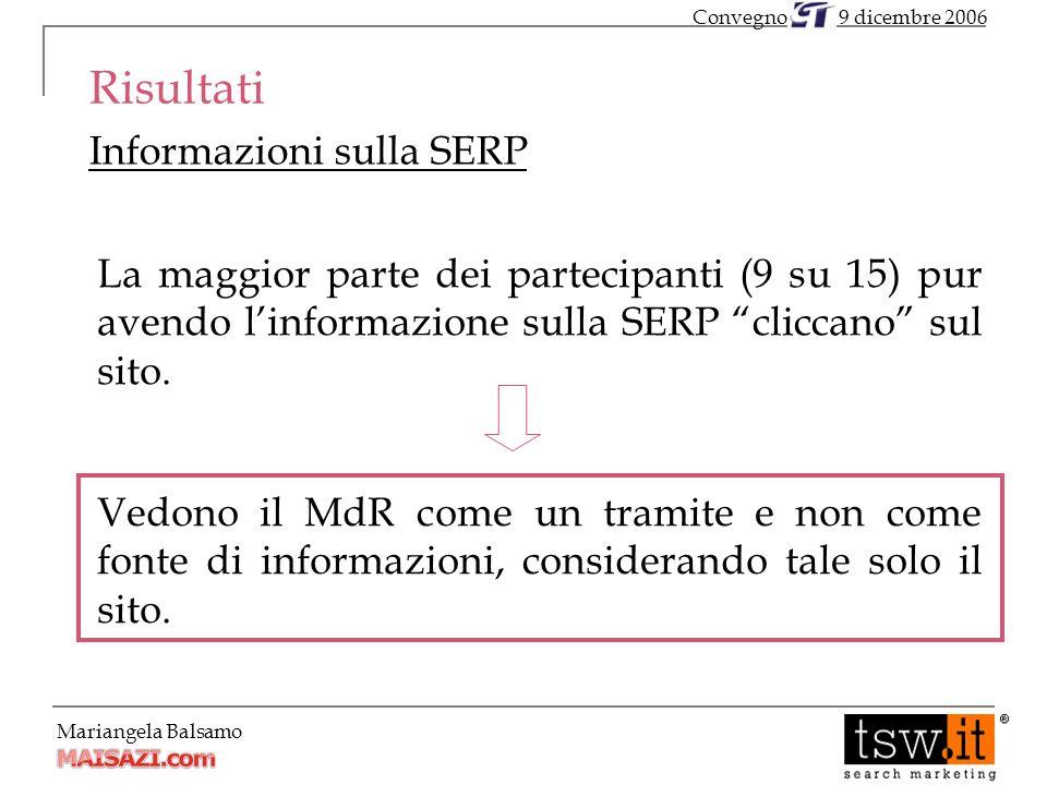 Mariangela Balsamo Risultati Informazioni sulla SERP 9 dicembre 2006Convegno La maggior parte dei partecipanti (9 su 15) pur avendo linformazione sulla SERP cliccano sul sito.
