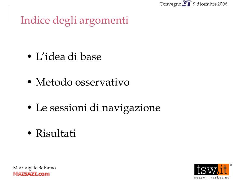 Mariangela Balsamo Indice degli argomenti Lidea di base Metodo osservativo Le sessioni di navigazione Risultati 9 dicembre 2006Convegno