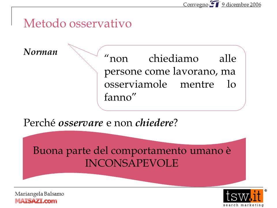 Mariangela Balsamo Metodo osservativo Norman Perché osservare e non chiedere .