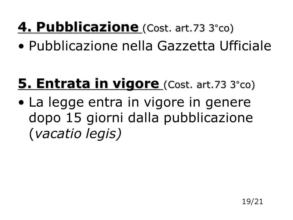 4. Pubblicazione (Cost. art.73 3°co) Pubblicazione nella Gazzetta Ufficiale 5. Entrata in vigore (Cost. art.73 3°co) La legge entra in vigore in gener