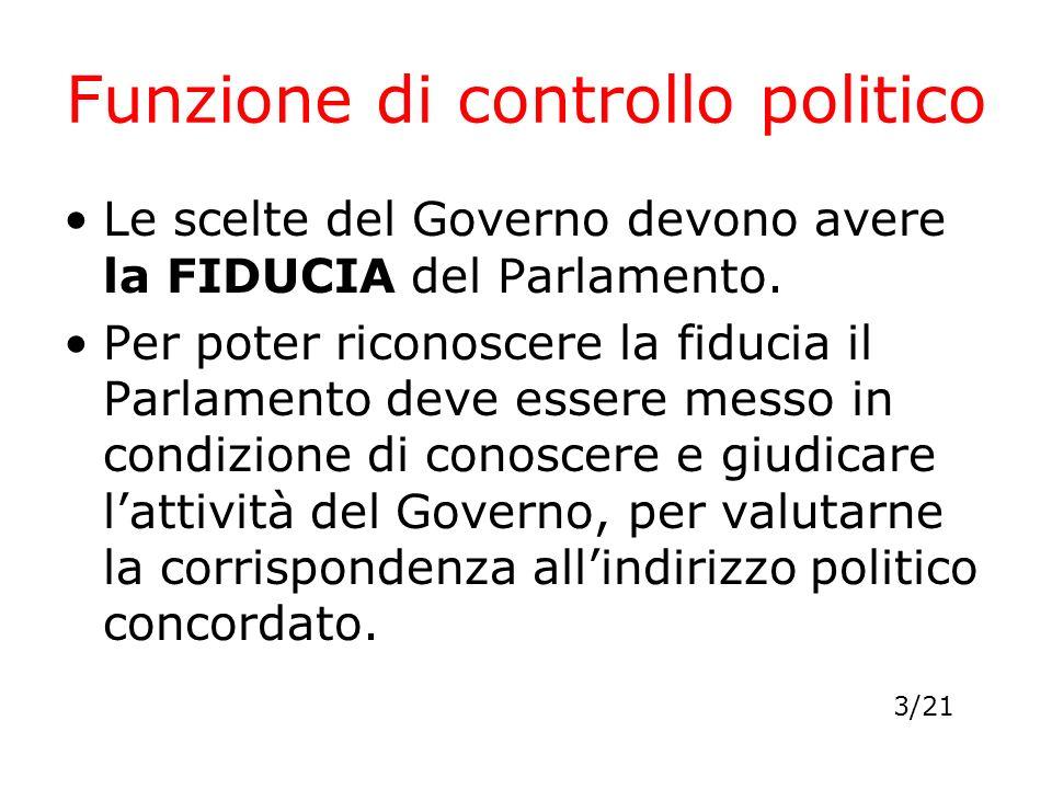 Funzione di controllo politico Le scelte del Governo devono avere la FIDUCIA del Parlamento. Per poter riconoscere la fiducia il Parlamento deve esser
