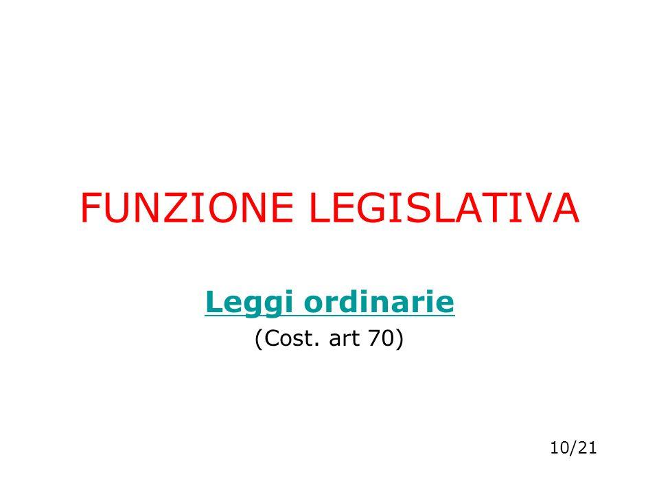 FUNZIONE LEGISLATIVA Leggi ordinarie (Cost. art 70) 10/21