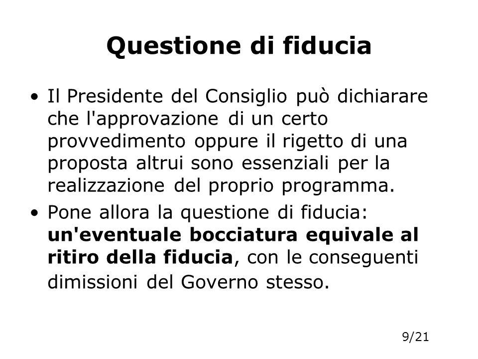 Questione di fiducia Il Presidente del Consiglio può dichiarare che l'approvazione di un certo provvedimento oppure il rigetto di una proposta altrui