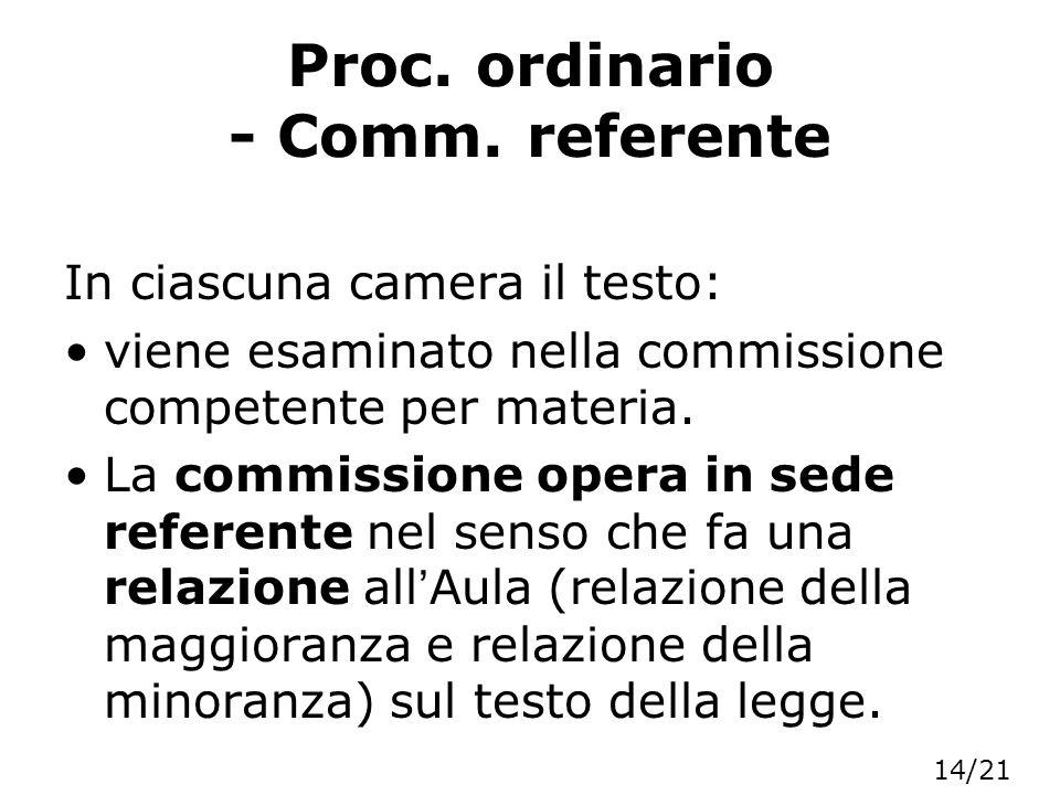 Proc. ordinario - Comm. referente In ciascuna camera il testo: viene esaminato nella commissione competente per materia. La commissione opera in sede