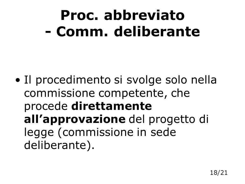 Proc. abbreviato - Comm. deliberante Il procedimento si svolge solo nella commissione competente, che procede direttamente allapprovazione del progett