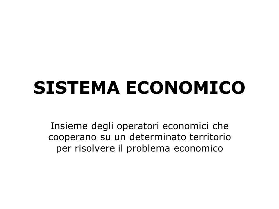 SISTEMA ECONOMICO Insieme degli operatori economici che cooperano su un determinato territorio per risolvere il problema economico