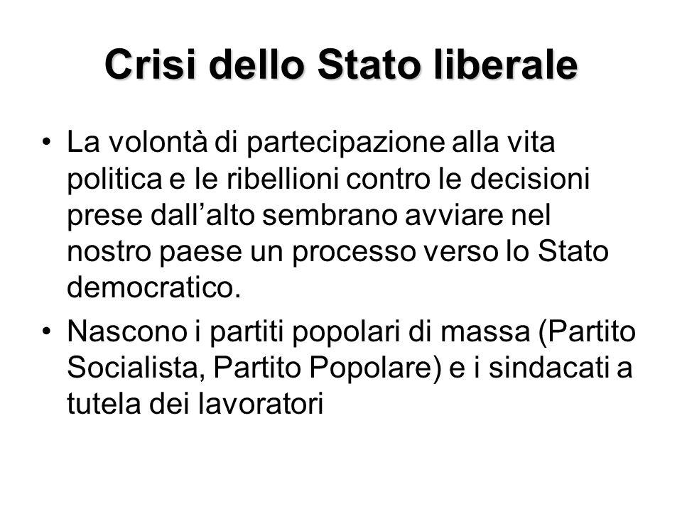 Crisi dello Stato liberale La volontà di partecipazione alla vita politica e le ribellioni contro le decisioni prese dallalto sembrano avviare nel nos