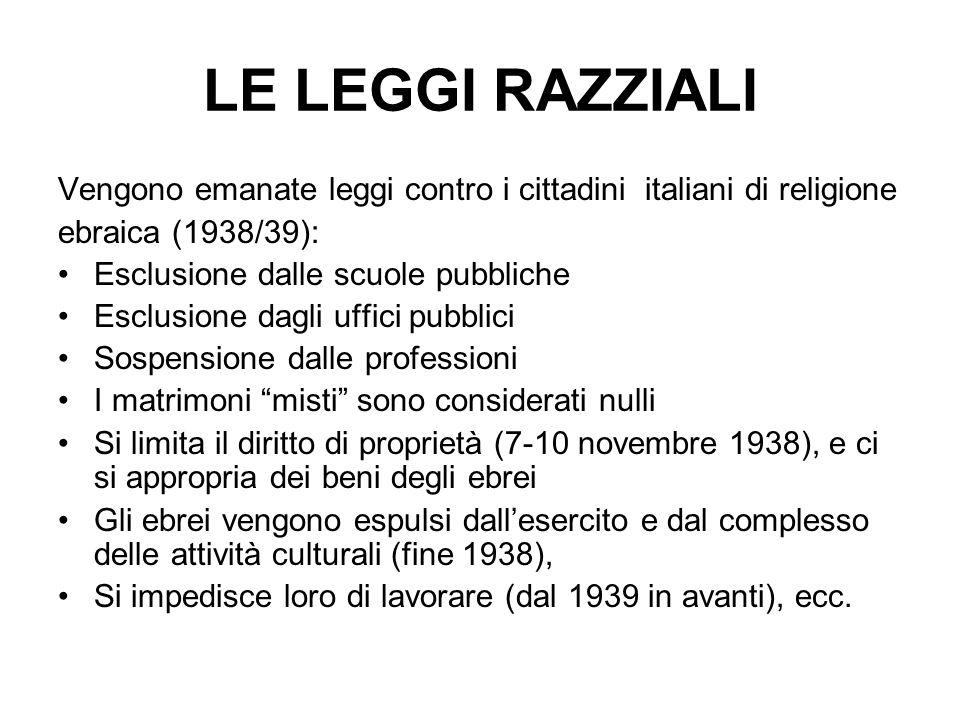 LE LEGGI RAZZIALI Vengono emanate leggi contro i cittadini italiani di religione ebraica (1938/39): Esclusione dalle scuole pubbliche Esclusione dagli