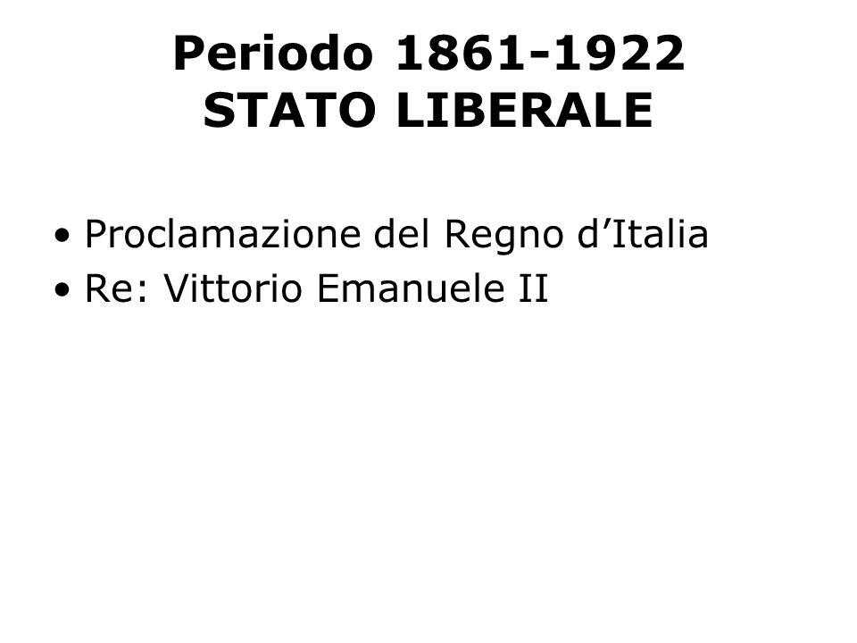 Periodo 1861-1922 STATO LIBERALE Proclamazione del Regno dItalia Re: Vittorio Emanuele II