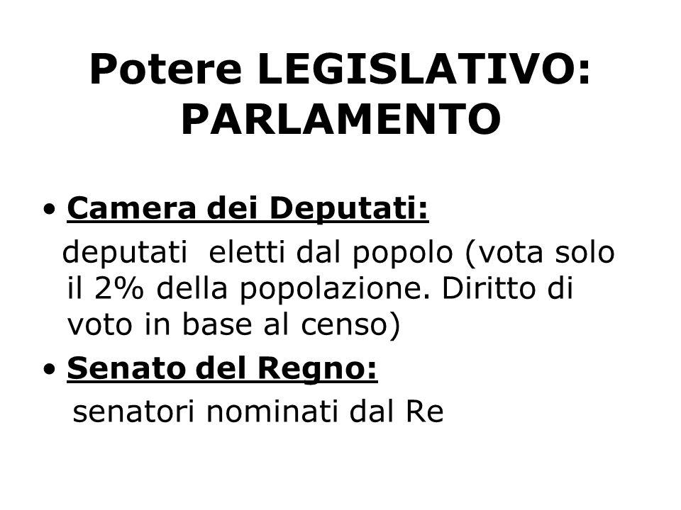 Potere LEGISLATIVO: PARLAMENTO Camera dei Deputati: deputati eletti dal popolo (vota solo il 2% della popolazione. Diritto di voto in base al censo) S