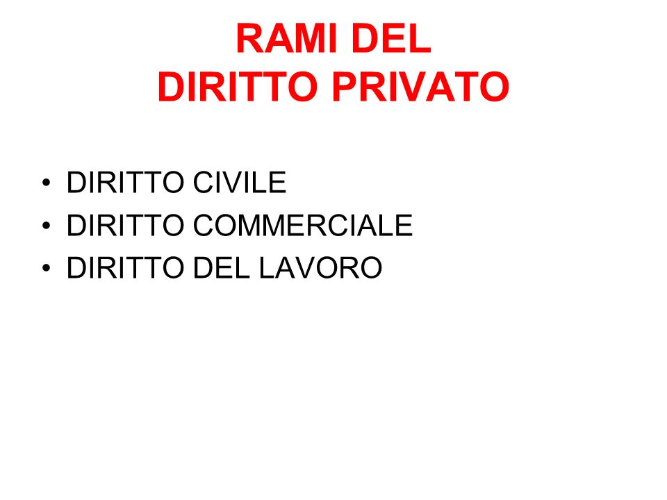 RAMI DEL DIRITTO PRIVATO DIRITTO CIVILE DIRITTO COMMERCIALE DIRITTO DEL LAVORO