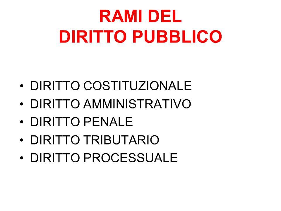 RAMI DEL DIRITTO PUBBLICO DIRITTO COSTITUZIONALE DIRITTO AMMINISTRATIVO DIRITTO PENALE DIRITTO TRIBUTARIO DIRITTO PROCESSUALE