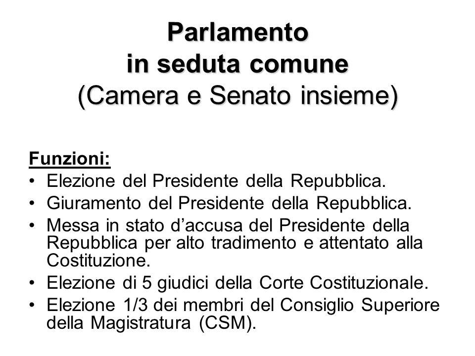 Parlamento in seduta comune (Camera e Senato insieme) Funzioni: Elezione del Presidente della Repubblica. Giuramento del Presidente della Repubblica.