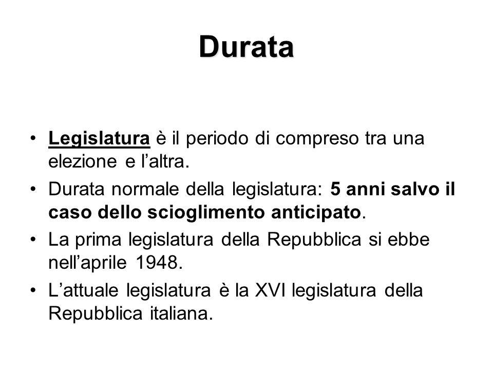 Durata Legislatura è il periodo di compreso tra una elezione e laltra. Durata normale della legislatura: 5 anni salvo il caso dello scioglimento antic