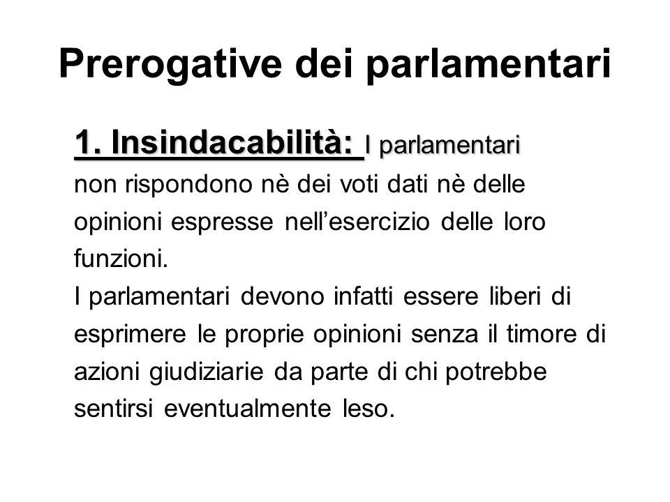 Prerogative dei parlamentari 1. Insindacabilità: I parlamentari non rispondono nè dei voti dati nè delle opinioni espresse nellesercizio delle loro fu