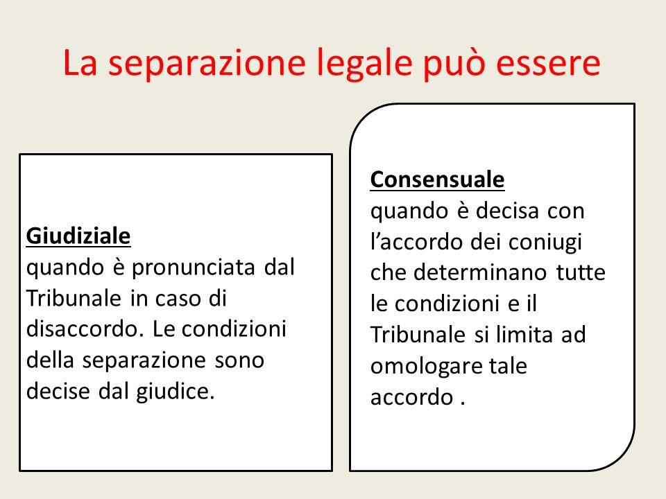La separazione legale può essere Consensuale quando è decisa con laccordo dei coniugi che determinano tutte le condizioni e il Tribunale si limita ad