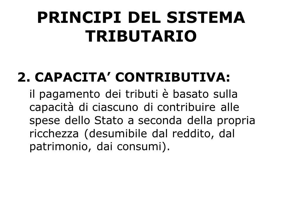 PRINCIPI DEL SISTEMA TRIBUTARIO 2.