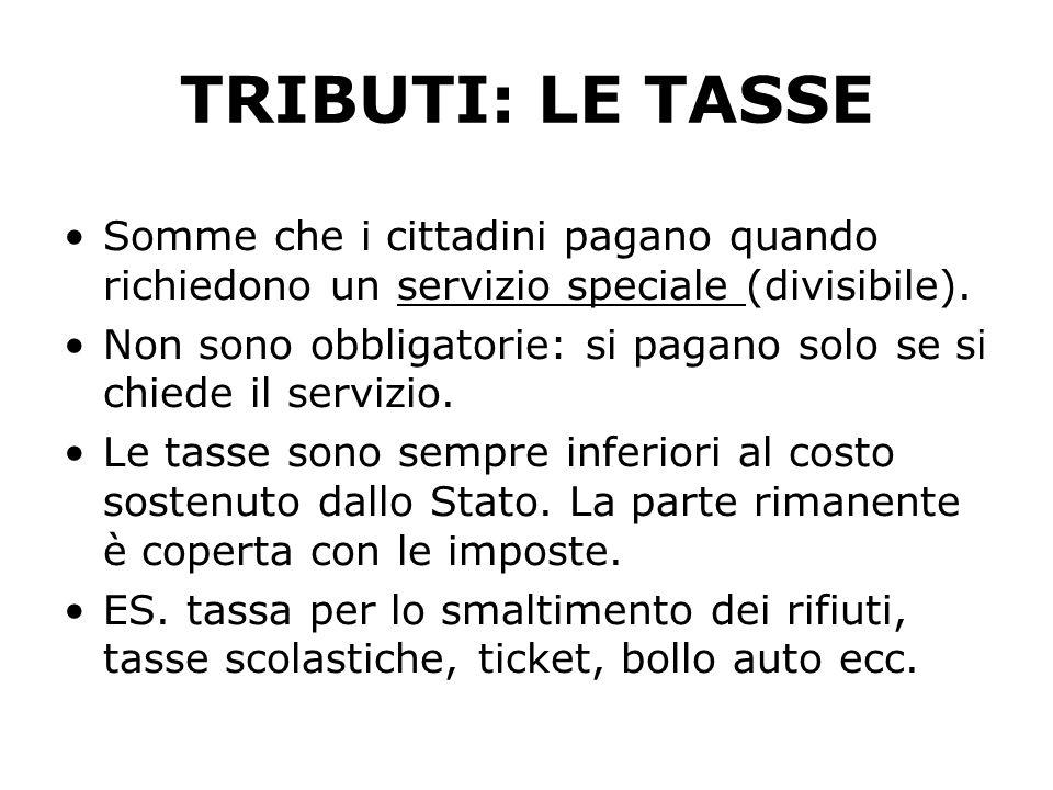TRIBUTI: LE TASSE Somme che i cittadini pagano quando richiedono un servizio speciale (divisibile).