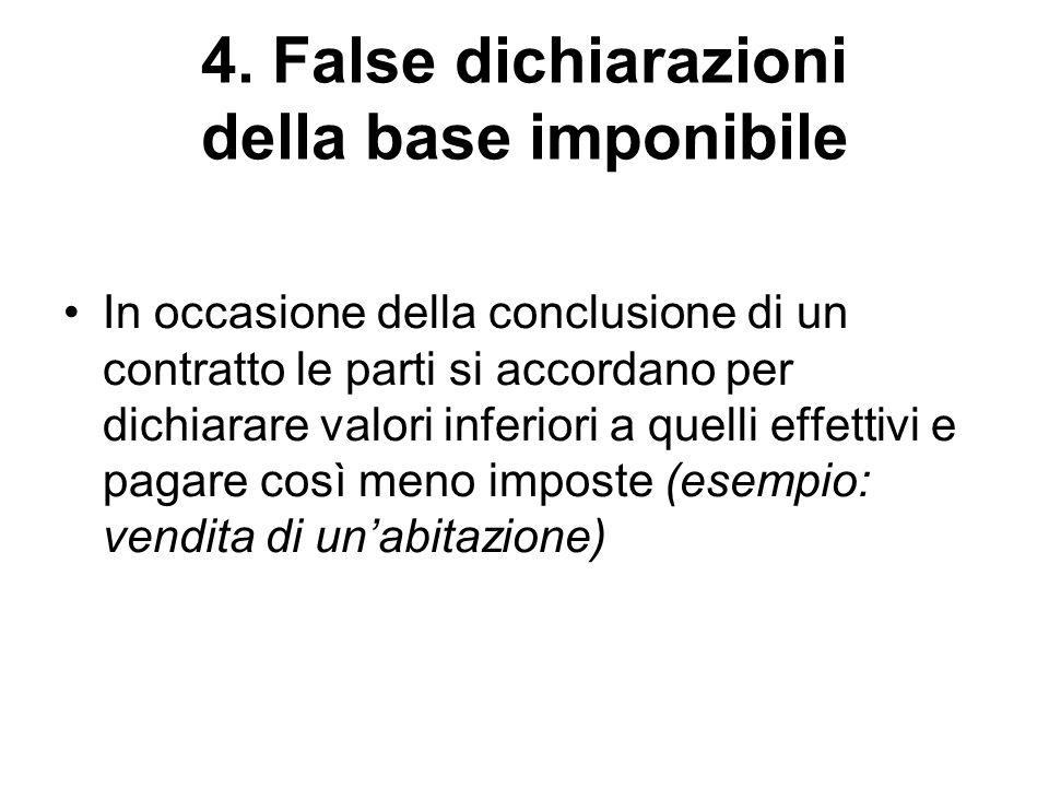 4. False dichiarazioni della base imponibile In occasione della conclusione di un contratto le parti si accordano per dichiarare valori inferiori a qu