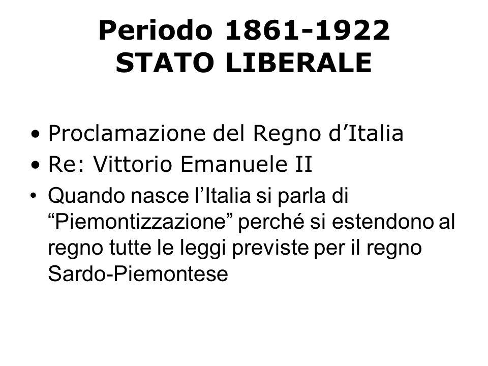 LO STATUTO ALBERTINO Si estende al Regno dItalia lo Statuto Albertino che era stato concesso da Carlo Alberto al Regno di Sardegna nel 1848