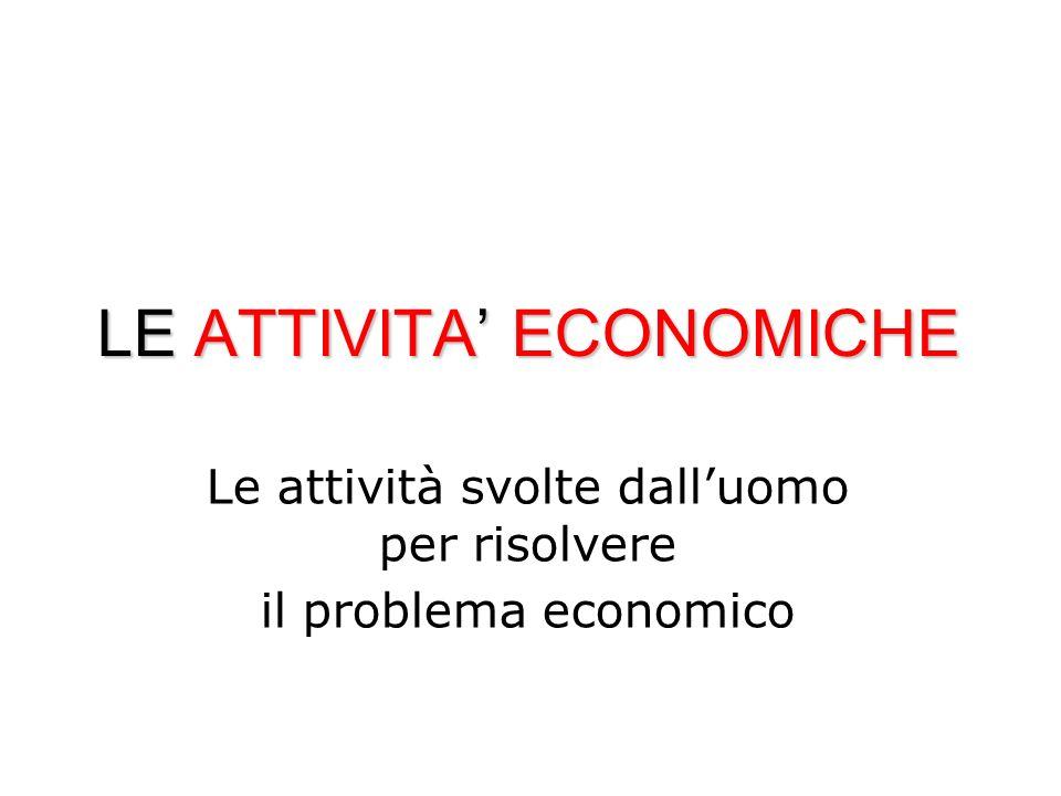 LE ATTIVITA ECONOMICHE Le attività svolte dalluomo per risolvere il problema economico