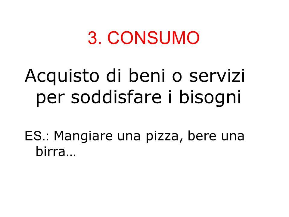 3. CONSUMO Acquisto di beni o servizi per soddisfare i bisogni ES.: Mangiare una pizza, bere una birra…