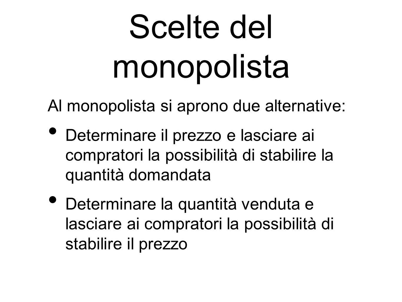 Scelte del monopolista Al monopolista si aprono due alternative: Determinare il prezzo e lasciare ai compratori la possibilità di stabilire la quantit