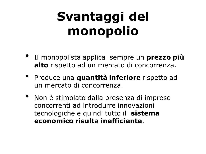 Svantaggi del monopolio Il monopolista applica sempre un prezzo più alto rispetto ad un mercato di concorrenza. Produce una quantità inferiore rispett