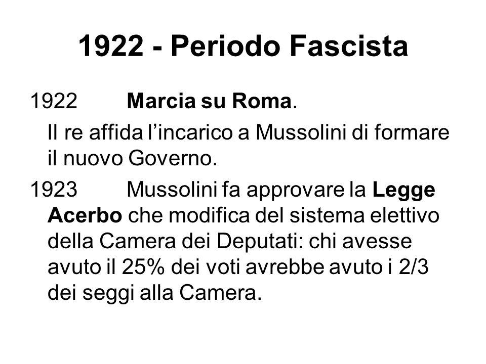 1922 - Periodo Fascista 1922 Marcia su Roma. Il re affida lincarico a Mussolini di formare il nuovo Governo. 1923 Mussolini fa approvare la Legge Acer