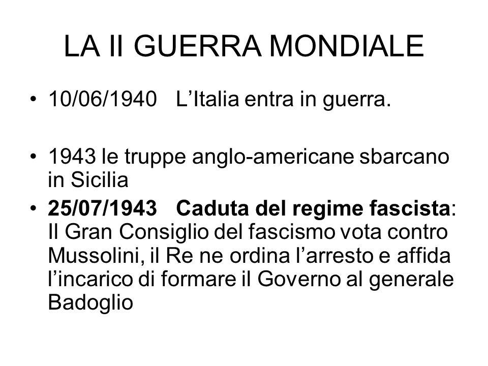 LA II GUERRA MONDIALE 10/06/1940 LItalia entra in guerra. 1943 le truppe anglo-americane sbarcano in Sicilia 25/07/1943 Caduta del regime fascista: Il