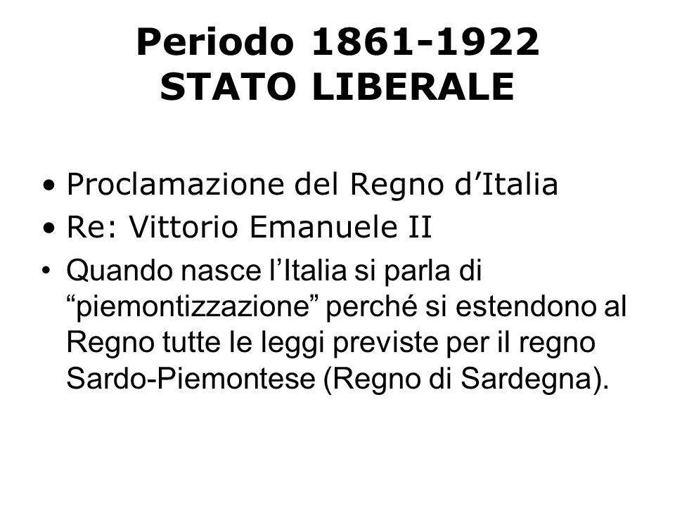 Periodo 1861-1922 STATO LIBERALE Proclamazione del Regno dItalia Re: Vittorio Emanuele II Quando nasce lItalia si parla di piemontizzazione perché si