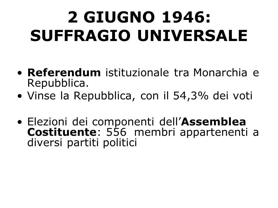 2 GIUGNO 1946: SUFFRAGIO UNIVERSALE Referendum istituzionale tra Monarchia e Repubblica. Vinse la Repubblica, con il 54,3% dei voti Elezioni dei compo