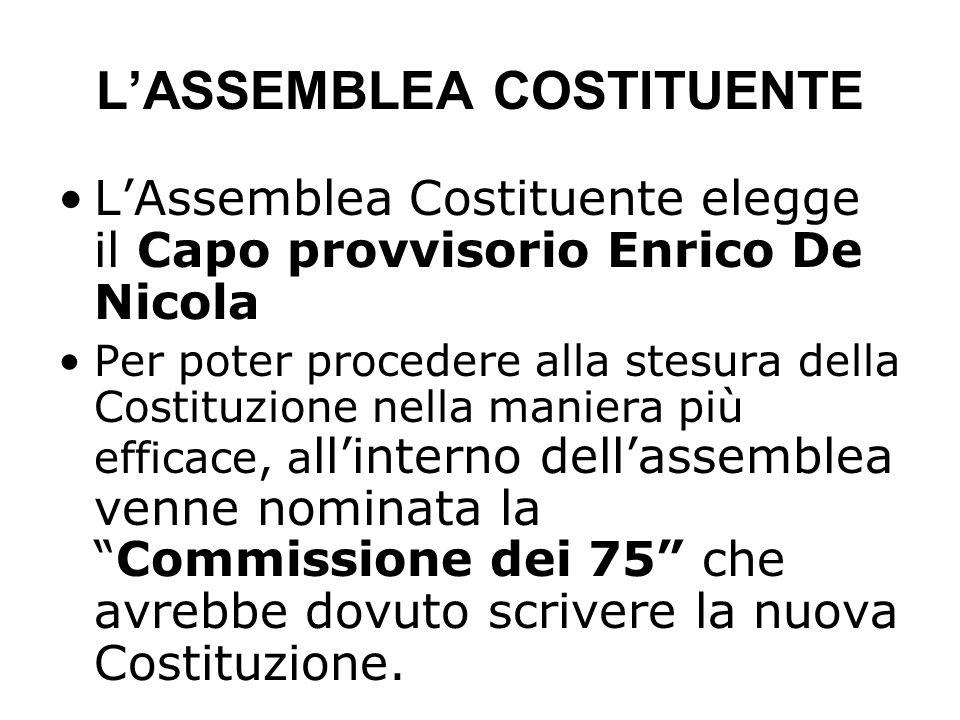 LASSEMBLEA COSTITUENTE LAssemblea Costituente elegge il Capo provvisorio Enrico De Nicola Per poter procedere alla stesura della Costituzione nella ma