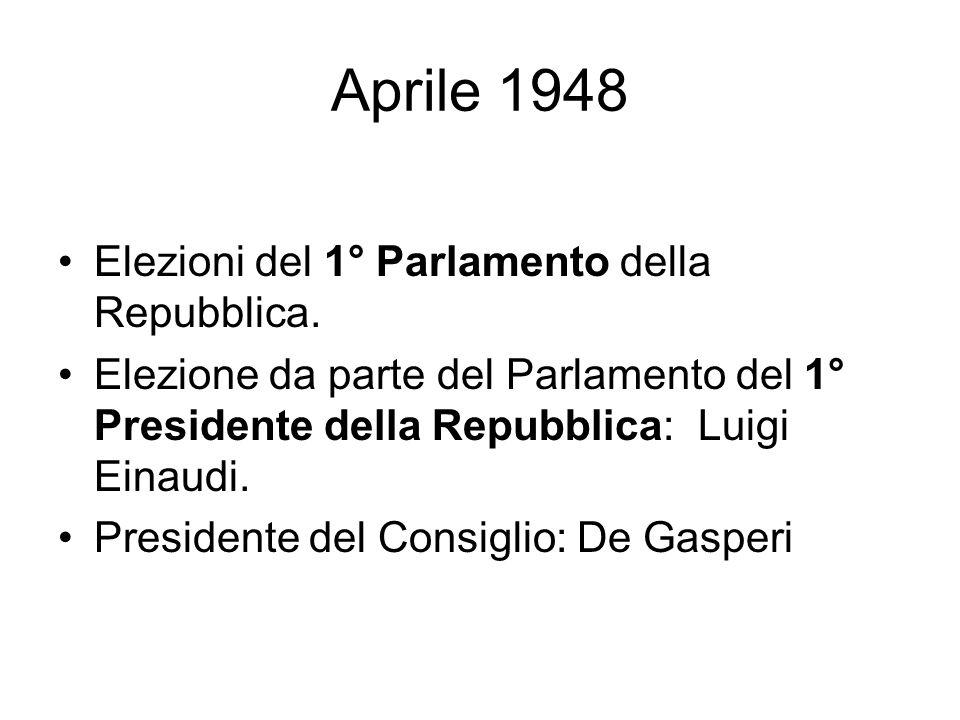 Aprile 1948 Elezioni del 1° Parlamento della Repubblica. Elezione da parte del Parlamento del 1° Presidente della Repubblica: Luigi Einaudi. President