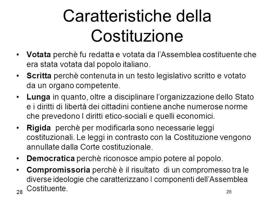 28 Caratteristiche della Costituzione Votata perchè fu redatta e votata da lAssemblea costituente che era stata votata dal popolo italiano. Scritta pe