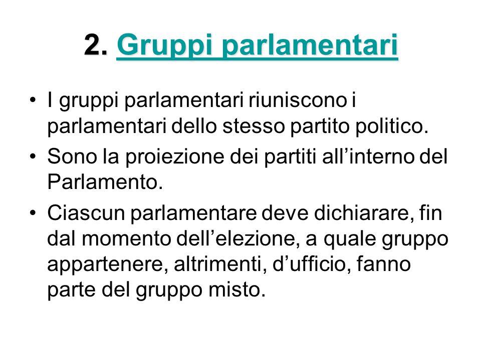 2. Gruppi parlamentari Gruppi parlamentariGruppi parlamentari I gruppi parlamentari riuniscono i parlamentari dello stesso partito politico. Sono la p