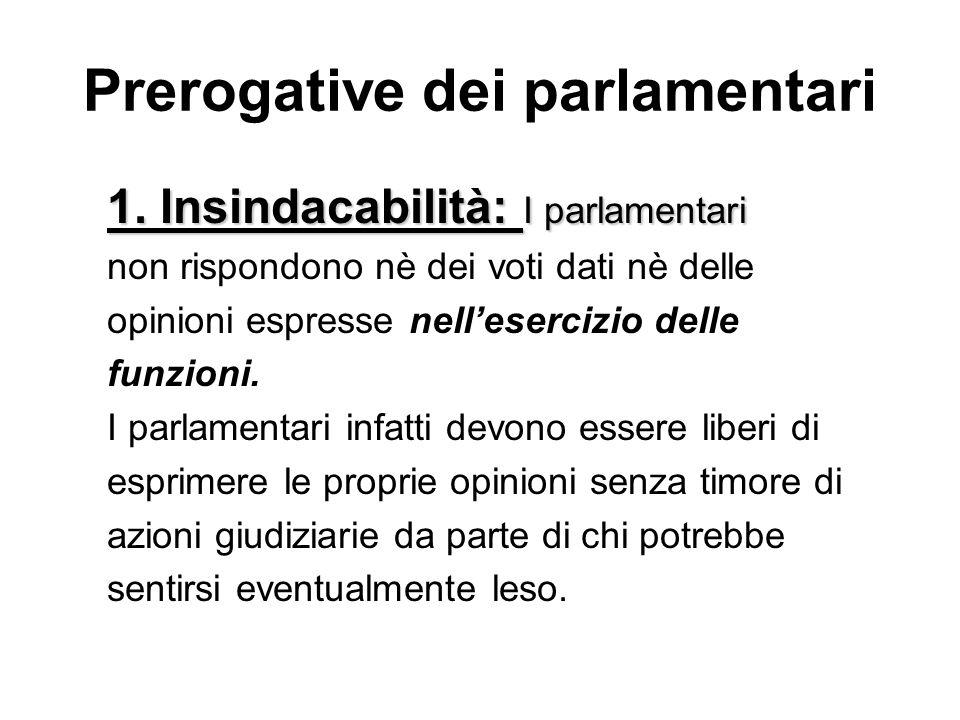 Prerogative dei parlamentari 1. Insindacabilità: I parlamentari non rispondono nè dei voti dati nè delle opinioni espresse nellesercizio delle funzion