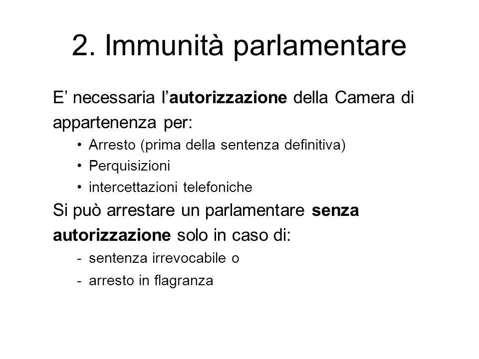 2. Immunità parlamentare l E necessaria lautorizzazione della Camera di appartenenza per: Arresto (prima della sentenza definitiva) Perquisizioni inte