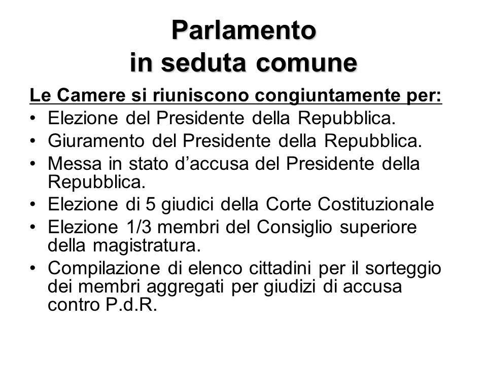 Parlamento in seduta comune Le Camere si riuniscono congiuntamente per: Elezione del Presidente della Repubblica. Giuramento del Presidente della Repu