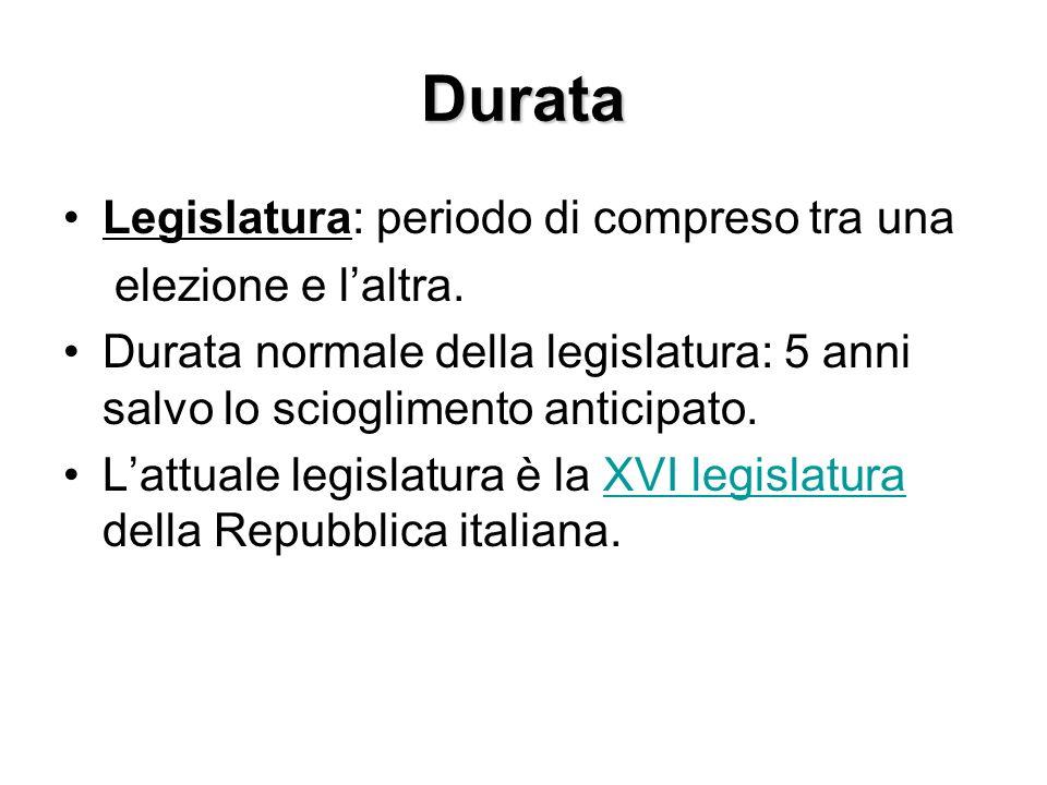 Durata Legislatura: periodo di compreso tra una elezione e laltra. Durata normale della legislatura: 5 anni salvo lo scioglimento anticipato. Lattuale