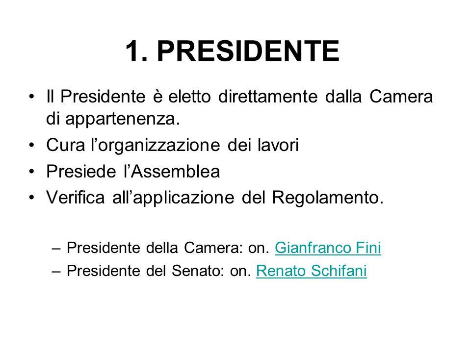 1. PRESIDENTE Il Presidente è eletto direttamente dalla Camera di appartenenza. Cura lorganizzazione dei lavori Presiede lAssemblea Verifica allapplic