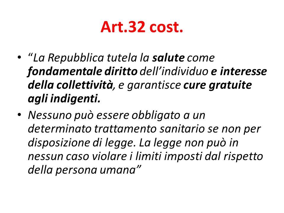 Art.32 cost. La Repubblica tutela la salute come fondamentale diritto dellindividuo e interesse della collettività, e garantisce cure gratuite agli in