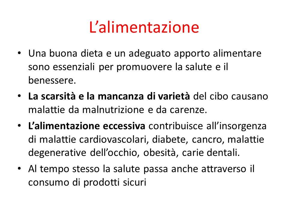 Lalimentazione Una buona dieta e un adeguato apporto alimentare sono essenziali per promuovere la salute e il benessere. La scarsità e la mancanza di