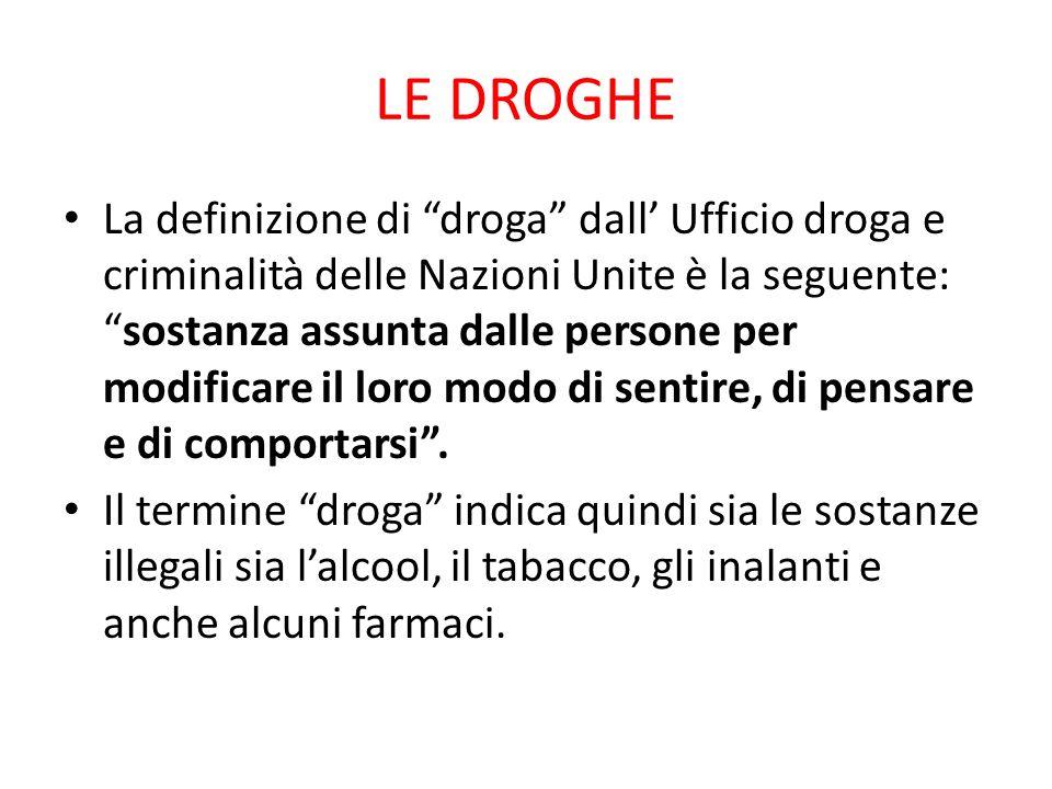 LE DROGHE La definizione di droga dall Ufficio droga e criminalità delle Nazioni Unite è la seguente:sostanza assunta dalle persone per modificare il