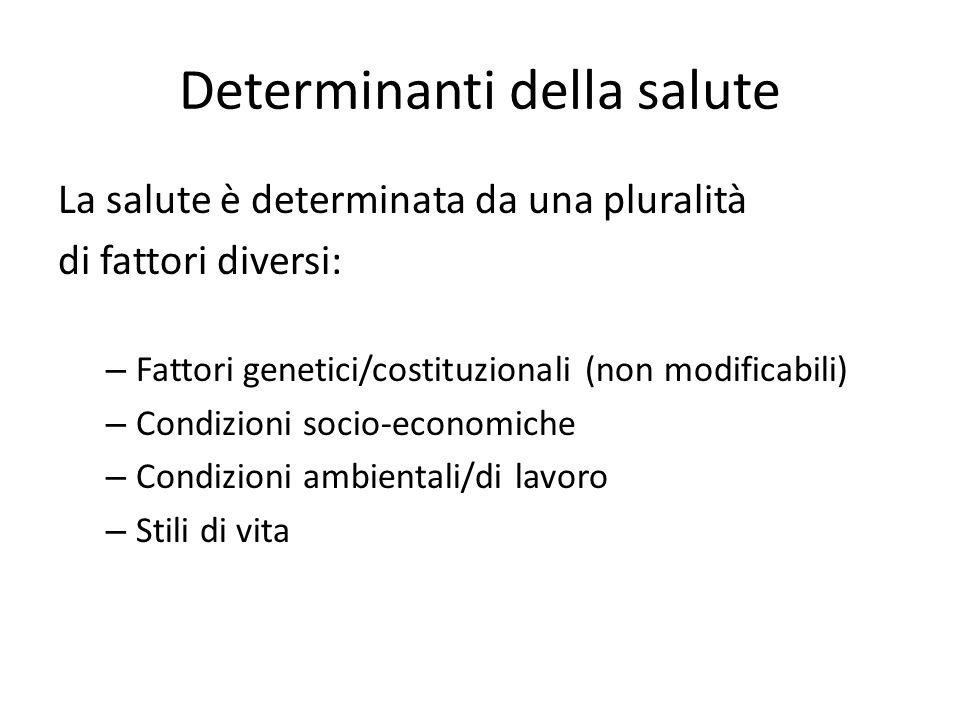 Determinanti della salute La salute è determinata da una pluralità di fattori diversi: – Fattori genetici/costituzionali (non modificabili) – Condizio