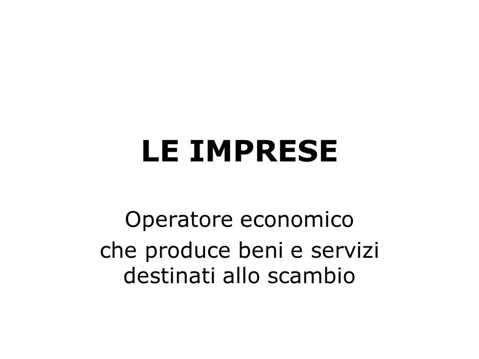 LE IMPRESE Operatore economico che produce beni e servizi destinati allo scambio