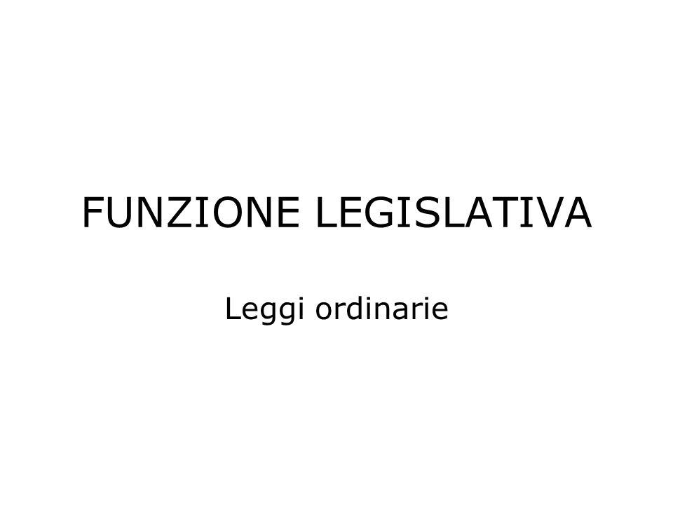 FUNZIONE LEGISLATIVA Leggi ordinarie