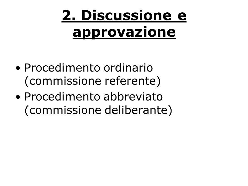 2. Discussione e approvazione Procedimento ordinario (commissione referente) Procedimento abbreviato (commissione deliberante)